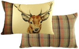 Evans Lichfield Highland Hunter Stag Deer Hand Painted Animals Cushion 40 X 60CM - $25.16