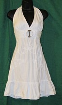Giocam Embroidered White Beach Summer Halter Sun Dress Size: S