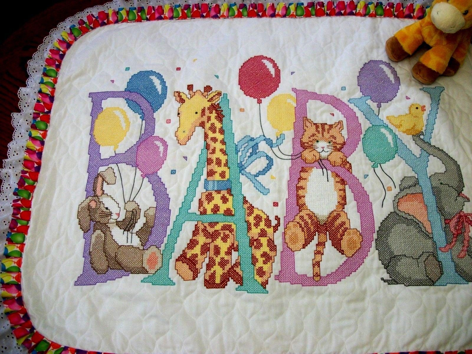 "Handcrafted Quilted Xstitched Baby Quilt  ""SNUGGLE"" Crib Cover add Baby's Name"