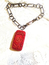 Hand Carved Vintage Genuine Red Cinnabar Charm Chain Bracelet - $94.05