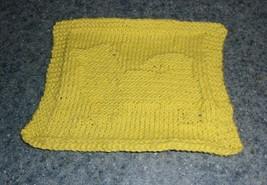 Brand New Hand Knit Pomeranian Dog Yellow Cotton Dish Cloth 4 Dog Rescue... - $10.39