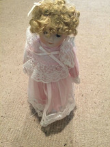 "Vintage Hard Plastic Doll 12"" Tall Curly Hair Pink clothes w doll stand VGC - $69.29"