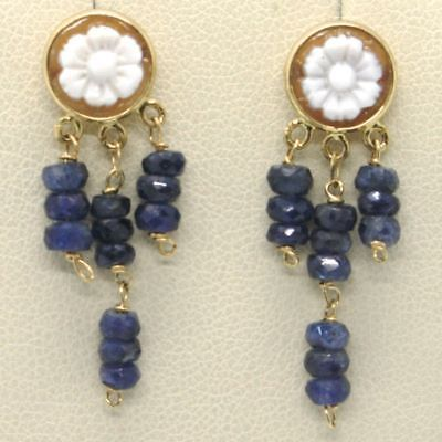 YELLOW GOLD EARRINGS 18K 750 WITH CAMEO SHELL SAPPHIRES BLUE MADE IN ITALY