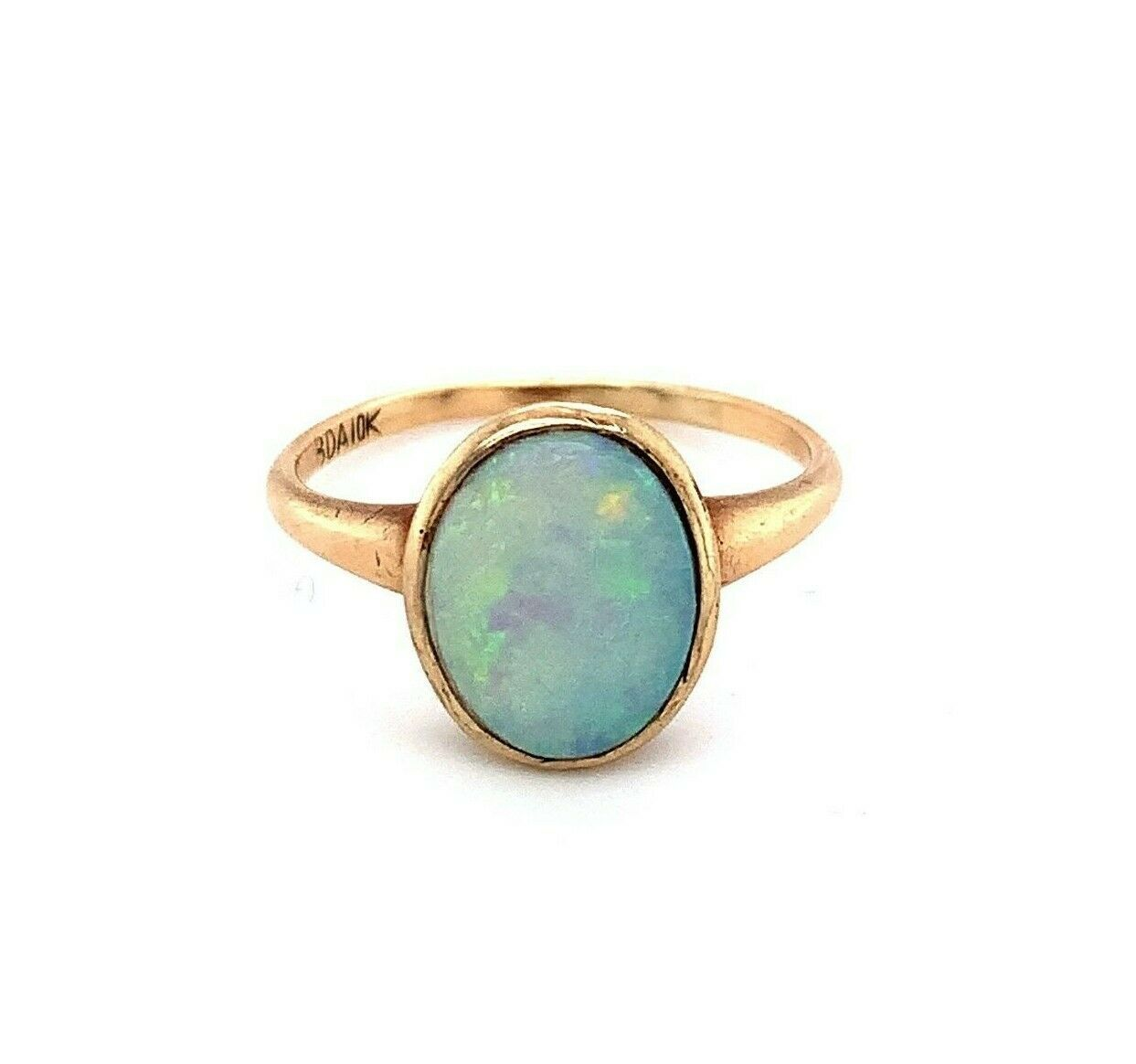 10k Yellow Gold Victorian Genuine Natural Opal Bezel Set Ring Blue Green #J4915 - $420.75