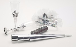 6 Ladies night out party kit feather tiaras blowers confetti glasses - s... - $14.80