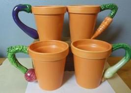 """Vintage Garden Mugs Set of 4 Department 56 Terra Cotta Look Veggie Handles 4.5"""" - $49.00"""