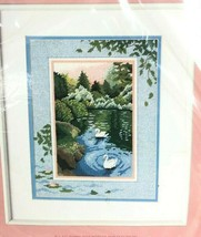 Dimensions FromThe Heart Swans At Sunset Needlepoint 52048 Kit Vintage 1... - $39.59