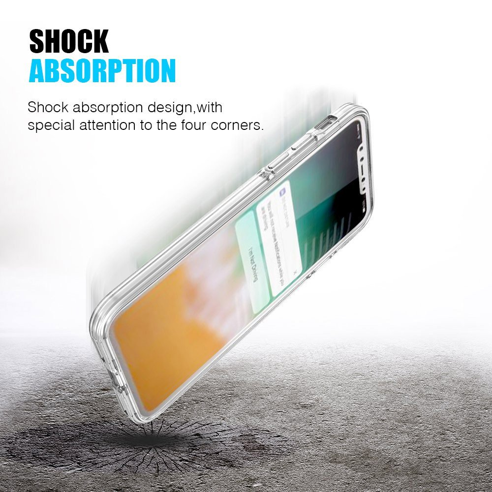 Hybrid Shock Absorption TPU Skin Case Back Cover With Clear Bumper for iPhone X