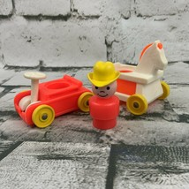 Vintage Fisher Price Little People Orange Boy In Cowboy Hat W Horse & Ca... - $15.84