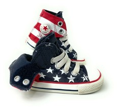 CONVERSE ALL STAR CHUCK TAYLOR Toddler Stars And Stripes High Tops Size 4 - $29.69