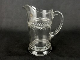 EAPG Glass Water Pitcher, Perpetual Bands of Leaves, Beaded Rim, Wide Po... - $58.75