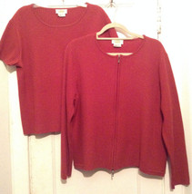 Talbots Thick Wool Zip Front Cardigan Crewneck Sweater Set L? XL? (Measurements) - $25.15