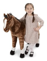 Melissa & Doug Children's Jumbo Lifelike Brown Horse Plush Over 3 Ft Tal... - $84.14