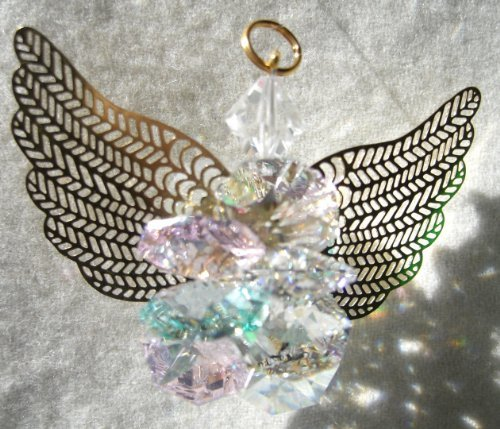J'Leen Clear, Rosaline and Seafoam Suncluster Angel Crystal Ornament