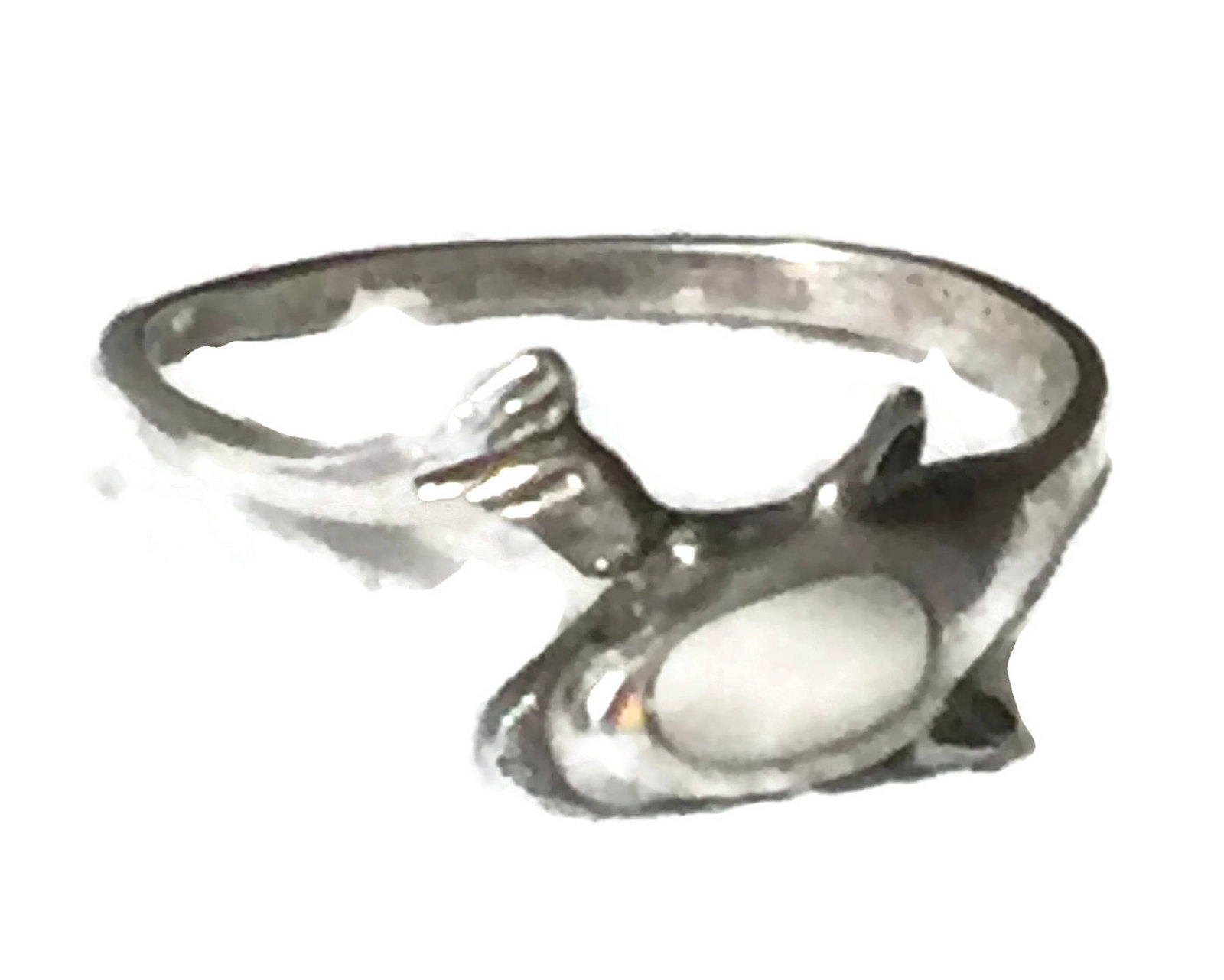 Vintage Dolphin Sterling Silver Ring or Band w Mother of Pearl MOP  Size 6.50