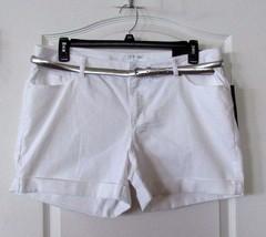 Apt.9 White Denim Cuffed Shorts W/belt WHITE Women's Size16  NWT MSRP $40 - $25.43