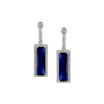 Radiant Clear + Blue Sapphire Baguette 5A Cubic Zirconia Rhodium Halo Earrings - $39.59