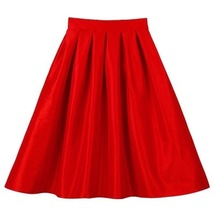 Women Pink Full Pleated Party Skirt A Line High Waist Knee Length Taffeta Skirt  image 9