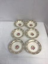 """6 Vintage Royal China Floral 6 1/4"""" Soup/Cereal Bowls 22k Gold Trim - An... - $26.24"""