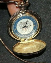 Navy Pocket Watch with Chain AA20-7245 Vintage   - $65.95