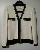 ST. JOHN COLLECTION Sweater Jacket zip up beige black trim Santana Knit ... - $121.54