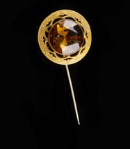 Antique Czech Hatpin - huge setting - Victorian stickpin - golden topaz ... - $110.00