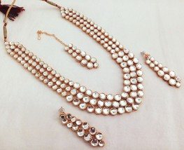 Fashion Necklace Jewelry Set Indian Bollywood Gold Plated Kundan White Bridal - $25.50