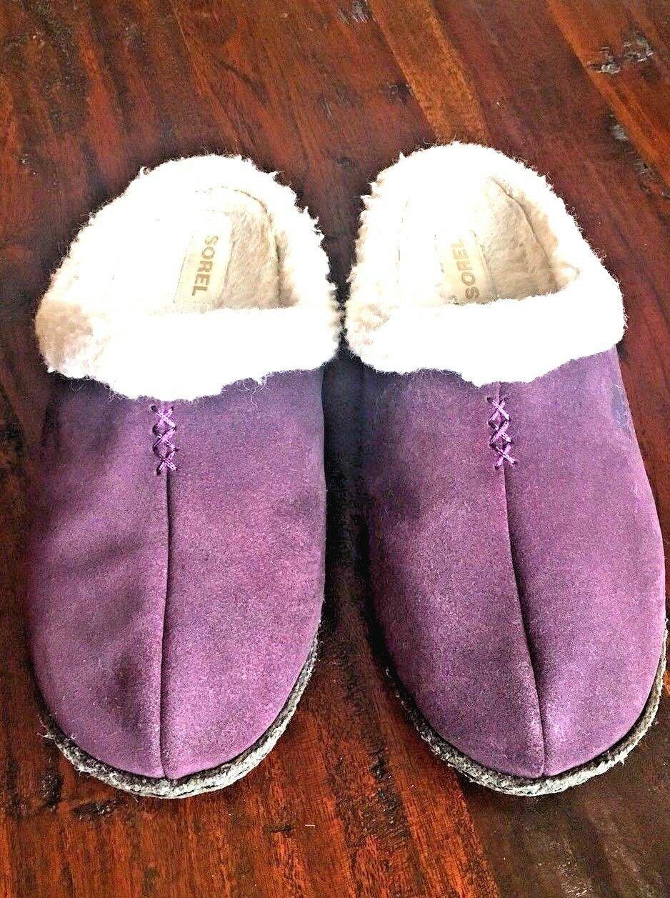 SOREL 9381 Womens Nakiska LILAC Purple Suede Clog Slippers Shoes 6 M #176