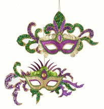 Sequined Masks Purple and Green Holiday Ornament Set of 2 - $33.76