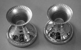 Judaica Small Pair Candlesticks Candle Holders Shabbat Holiday Hammered Nickel  image 4