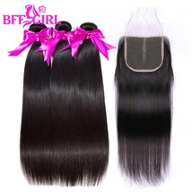 Brazilian Straight Hair Bundles With Closure Human Hair Bundles With Clo... - $273.60