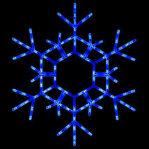 Blue LED Lighted Christmas Snowflake Outdoor Decoration Snowflakes Display - €48,88 EUR