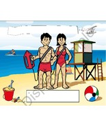 Lifeguard Couple Toon Character Personalized Matted Print Finished Produ... - $16.95