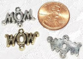 MOM or WOW DOUBLE LOOP FINE PEWTER CONNECTOR CHARM - 20mm L x 14mm W x 2mm D image 3
