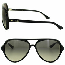 New RAY-BAN Cats 5000 RB 4125 601/32 Polished Black w/Gray Gradient 59 mm - $113.63