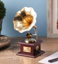 Brass & Wood Gramophone Showpiece for Corporate/Collector Gifting Fast S... - $45.00