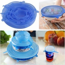 Silicone Stretch Lids Cover Multi Size 6 pack Reusable Food Seal Wrap Six - $17.81