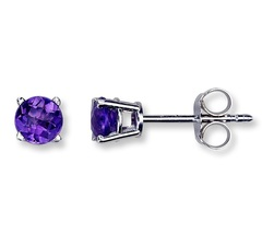 Round Cut Purple Amethyst 10k White Gold Plated 925 Silver Classic Stud Earrings - £16.85 GBP