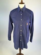 Lauren Ralph Lauren Womens Button Down Shirt 6 Crest Blue Plaid Embroide... - $19.28