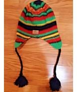 Adult SCREAMER Beanie - BLACK Earflaps Hand Knit Winter Ski Snow Hat - $8.90