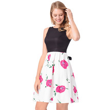 AOVEI Pink Floral Print Hit Color High Waist Prom Party Pleated Swing Dress - $24.99