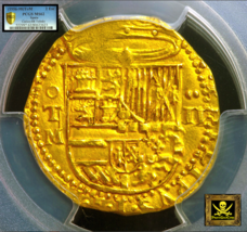 "Spain 1556-98 2 Escudos Pcgs 62 Gold Cob Doubloon ""2nd Finest Known"" Atocha Era - $4,850.00"