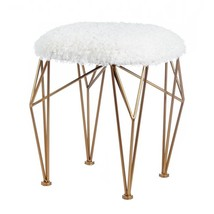 Stools, Geo White Faux Fur Round Outdoor Small Stools, Iron Golden Base - £70.94 GBP