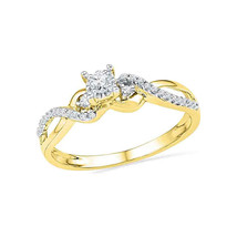 10k Yellow Gold Womens Round Diamond Solitaire Crossover Promise Bridal ... - £243.55 GBP