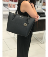 NWT Michael Kors Ciara Large East West Top Zip Tote Saffiano Leather Black - $138.59