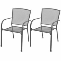 vidaXL 2x Stackable Garden Chairs Steel Gray Outdoor Patio Dining Mesh S... - $118.99