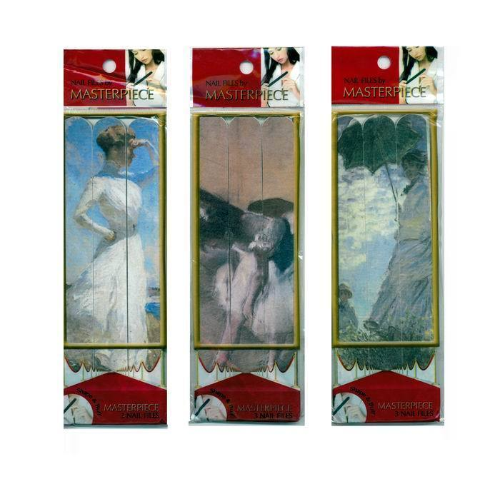 Pack of 3 Masterpiece Nail File Emery Boards of Assorted Famous Artwork / 36 Pks