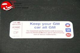 "73 Camaro 350-2BBL Air Cl EAN Er ""Keep Your Gm All Gm"" Code ""Df"" Decal GM#6487555 - $999.99"