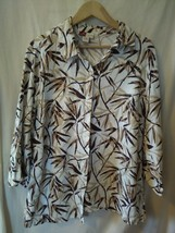 JM Women's Collection Button Down Top Size 18W Beige Brown Green Leaf Print - $18.41