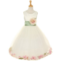 Ivory Satin Bodice Layers Tulle Skirt Peach Flower Brooch and Petals Gir... - $50.99+